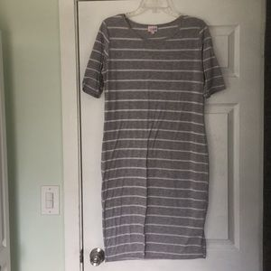 Grey striped Lularoe dress